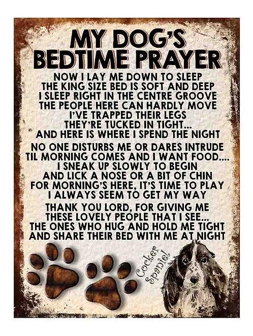 Cocker Spaniel Gift My Dogs Bedtime Prayer Retro Metal Sign / Fridge Magnet