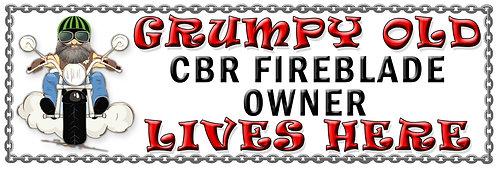 Grumpy CBR Fireblade Owner, Humorous metal Plaque 267mm x 88mm