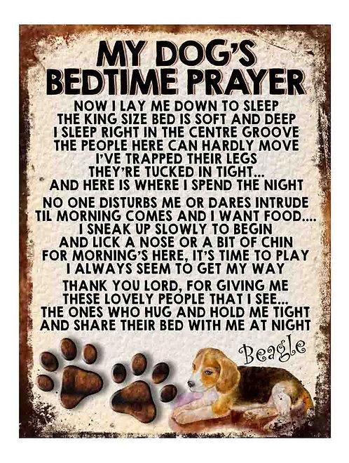 Beagle Hound My Dogs Bedtime Prayer Retro Metal Sign / Fridge Magnet