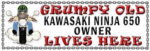 Grumpys Old Kawasaki Ninja 650 Owner,  Humorous metal Plaque 267mm x 88mm