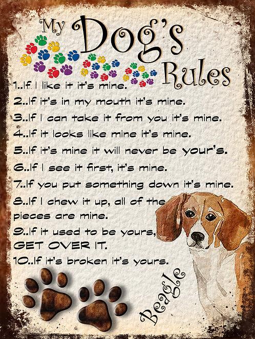 My Dogs Rules Beagle Retro Metal Sign / Fridge Magnet