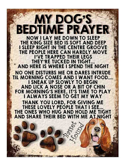 Basset Hound My Dogs Bedtime Prayer Retro Metal Sign / Fridge Magnet