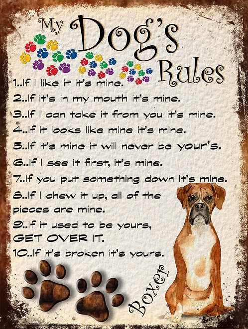 Boxer My Dogs Rules Retro Metal Sign / Fridge Magnet Shabby Chic