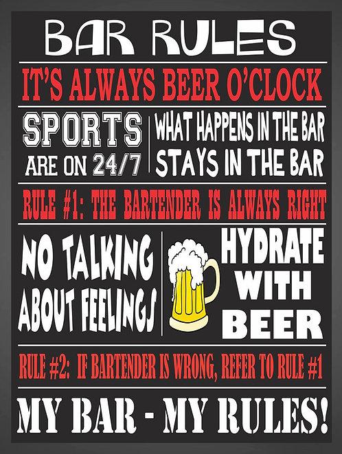 Bar Rules Retro Metal Sign / Fridge Magnet Pub Bar Man Cave