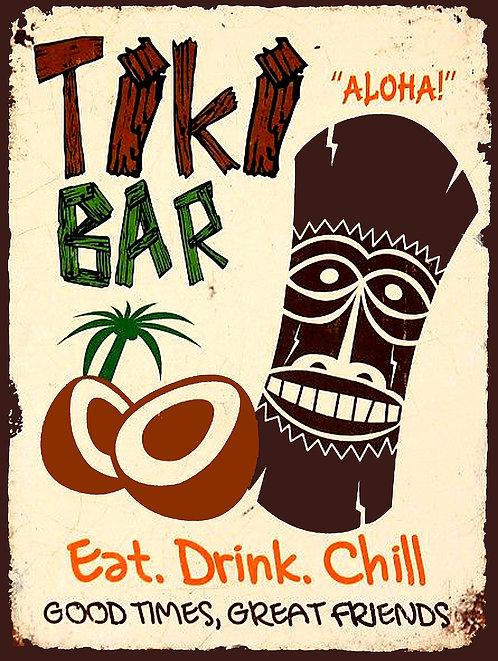 Tiki Bar Eat Drink Chill, Retro Metal Sign / Fridge Magnet Home Decor Pub Bar
