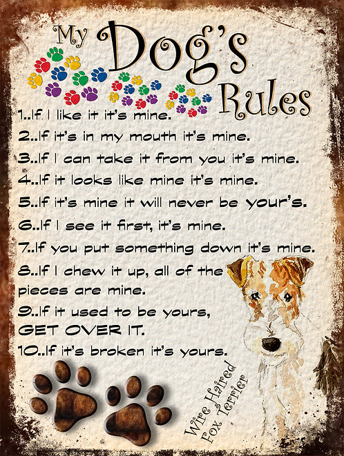 Wire Haired Terrier My Dogs Rules Retro Metal Sign / Fridge Magnet Shabby Chic