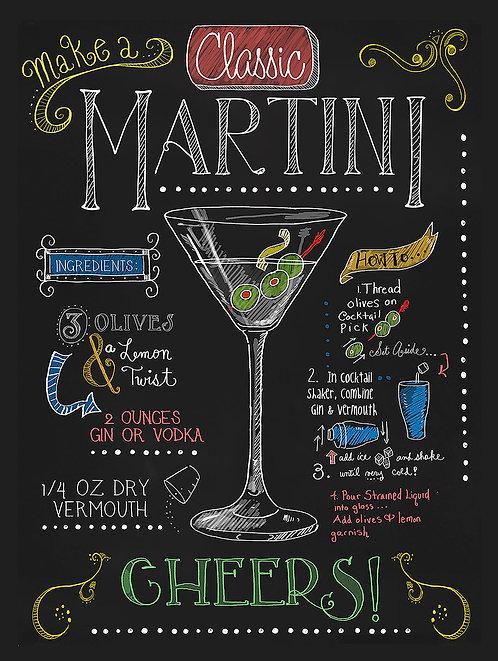 Martini, Retro Metal Sign / Fridge Magnet Bar Pub Cocktail