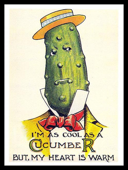 I'm as Cool as a Cucumber, Retro Metal Sign / Fridge Magnet Pub Bar Man Cave