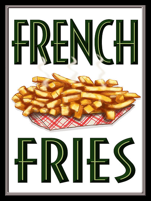 French Fries, Retro Metal Sign / Fridge Magnet Pub Bar Man Cave