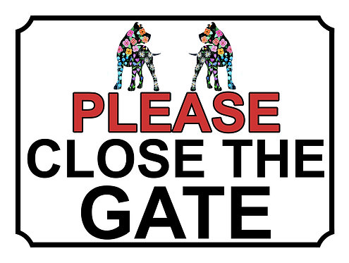 Please Close The Gate Flower Dogs Theme Yard Sign Garden