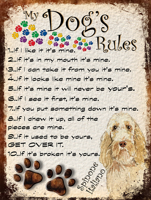 Spinone Italiano My Dogs Rules Retro Metal Sign / Fridge Magnet Shabby Chich