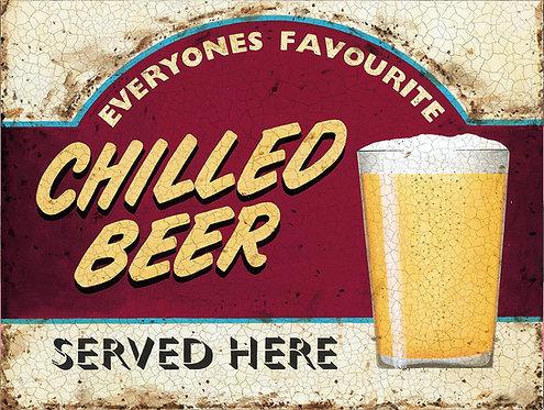Chilled Beer, Retro Metal Sign / Fridge Magnet Pub Bar Man Cave