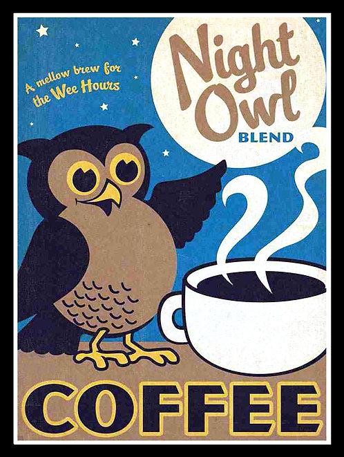 Coffee Owl, Retro Metal Sign / Fridge Magnet Pub Bar Man Cave