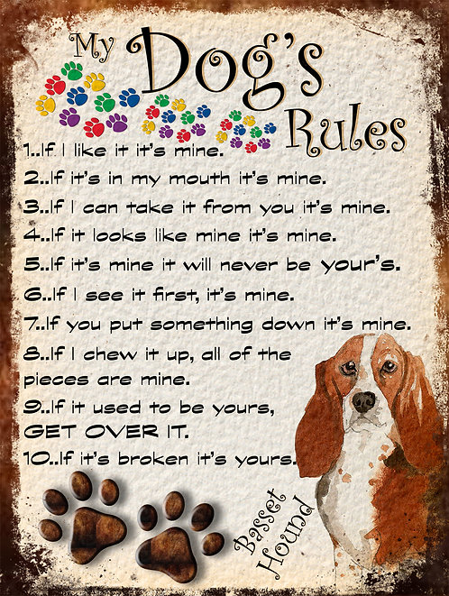 Basset Hound My Dogs Rules Retro Metal Sign / Fridge Magnet Shabby Chic