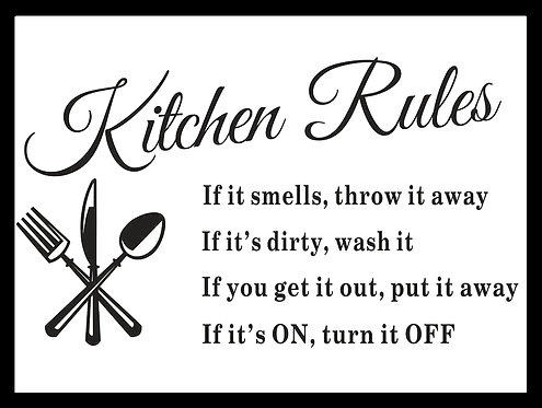 Kitchen Rules, Retro Metal Sign / Fridge Magnet Pub Bar Man Cave