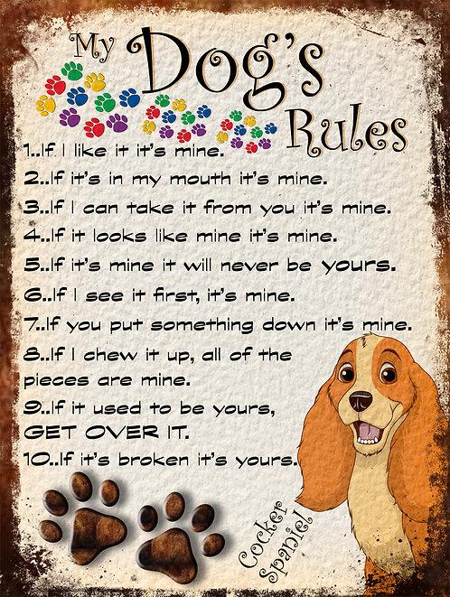 Cocker Spaniel Gift My Dogs Rules Retro Metal Sign / Fridge Magnet Shabby Chic