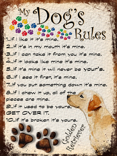 My Dogs Rules Labrador Retro Metal Sign / Fridge Magnet