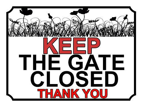 Keep The Gate Closed Thankyou Poppy Field Theme Yard Sign Garden