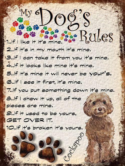 Dogs Rules Cockapoo Retro Metal Sign / Fridge Magnet