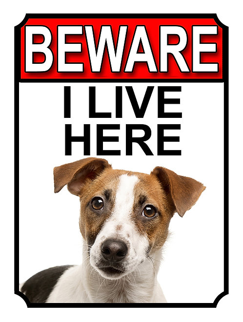 Jack Russell Beware I Live Here Dog Breed  Garden Yard Gate Sign 1077H1