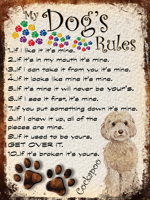 My Dogs Rules Cockapoo Retro Metal Sign / Fridge Magnet