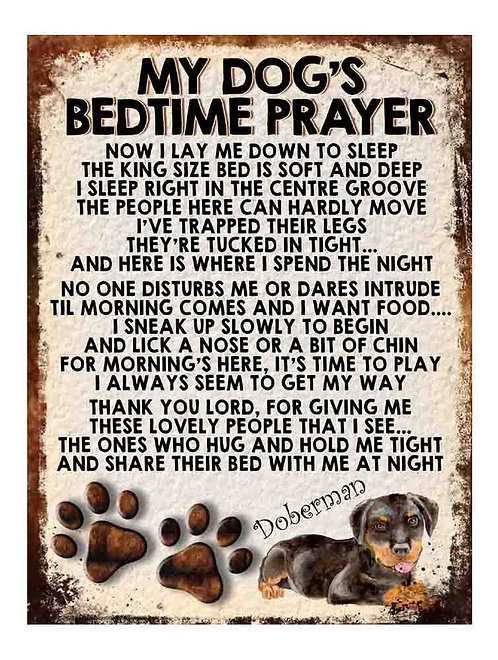 Doberman My Dogs Bedtime Prayer Retro Metal Sign / Fridge Magnet
