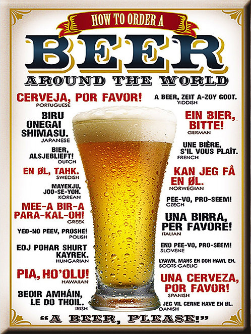 Beer, Retro Metal Sign / Fridge Magnet Pub Bar Man Cav