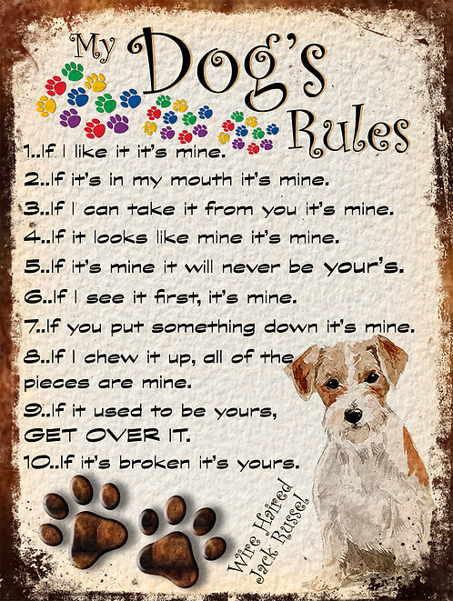 My Dogs Rules Wire Haired Jack Russel Retro Metal Sign / Fridge Magnet