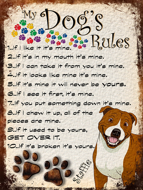 Staffie Gift My Dogs Rules Retro Metal Sign / Fridge Magnet Shabby Chich