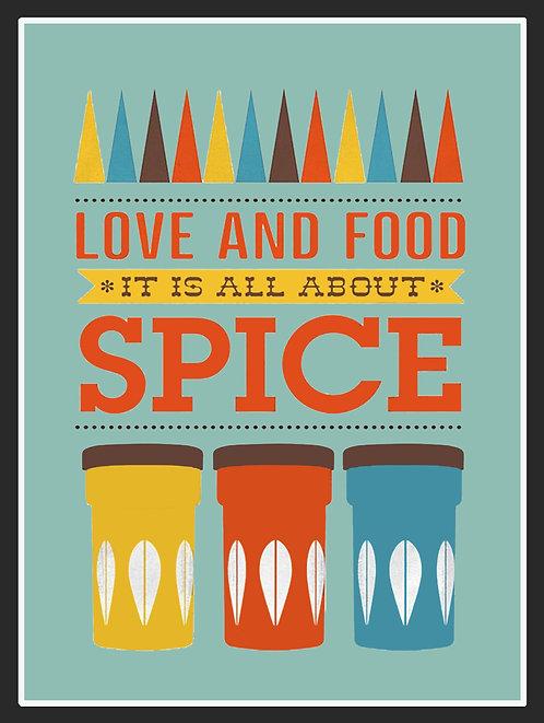 Food all About Spice, Retro Metal Sign / Fridge Magnet Pub Bar Man Cave