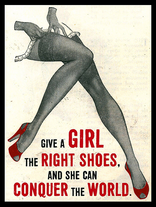Give A Girl The Right Shoes, Retro Metal Sign / Fridge Magnet Pub Bar Man Cave