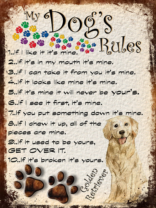 Golden Retriever My Dogs Rules Retro Metal Sign / Fridge Magnet Shabby Chic