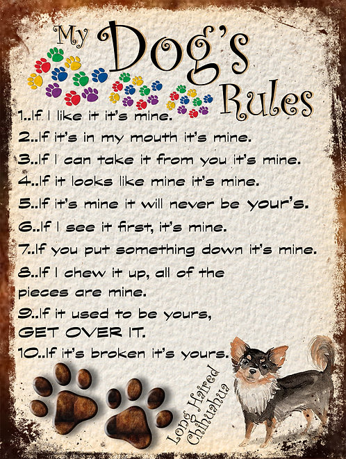 My Dogs Rules Poodle Retro Metal Sign / Fridge Magnet