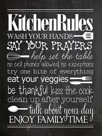Kitchen Rules, Retro Metal Sign / Fridge Magnet Kitchen