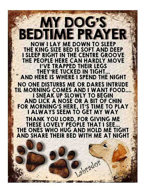 Labrador Gift My Dogs Bedtime Prayer Retro Metal Sign / Fridge Magnet