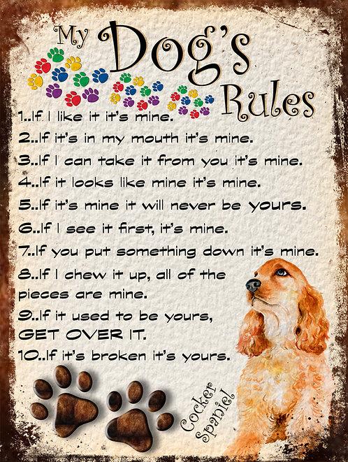 Cocker Spaniel Golden Gift My Dogs Rules Retro Metal Sign / Fridge Magnet Shabby