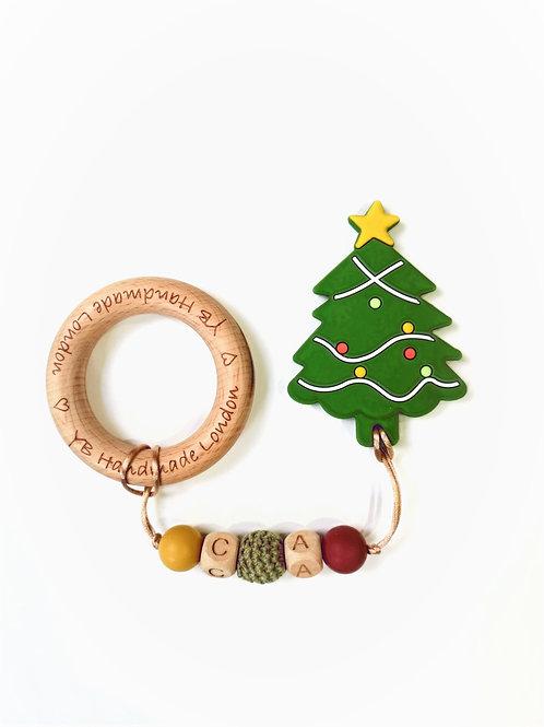 Personalized Initials Christmas Tree Teething Bracelet