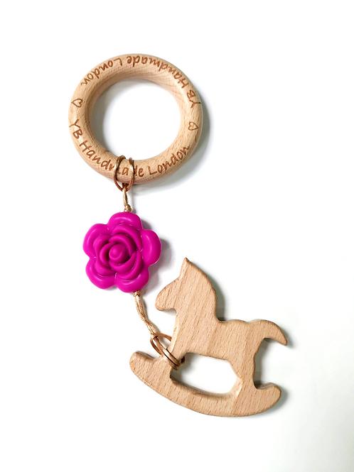 Rose Rocking Horse Teething Bracelet