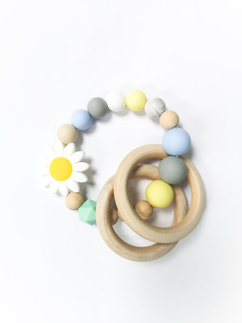 White Daisy Teething Ring