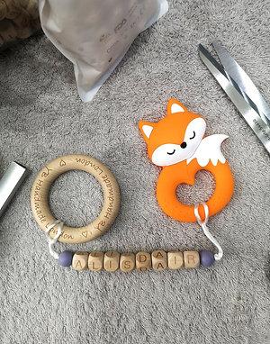 Bespoke A Teething Bracelet (with logo wood bangle)