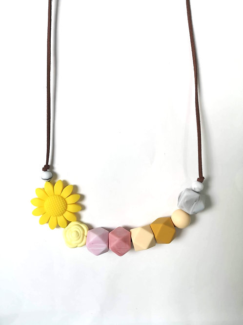 Mother&Baby Daisy Teething Necklace (Vegan Leather cord)
