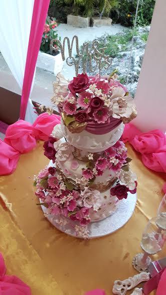 Designer Wedding Cake - Fuchsia Garden