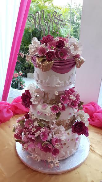 Designer Wedding Cake - Fuchsia Gaden