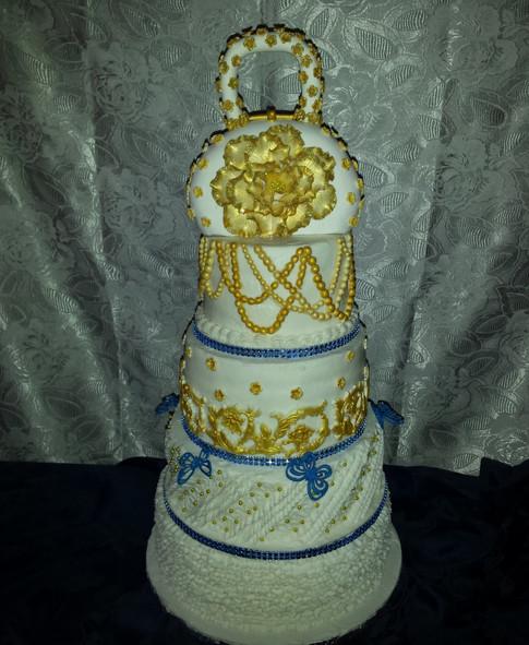 Designer Birthday Cake - Splash of Gold