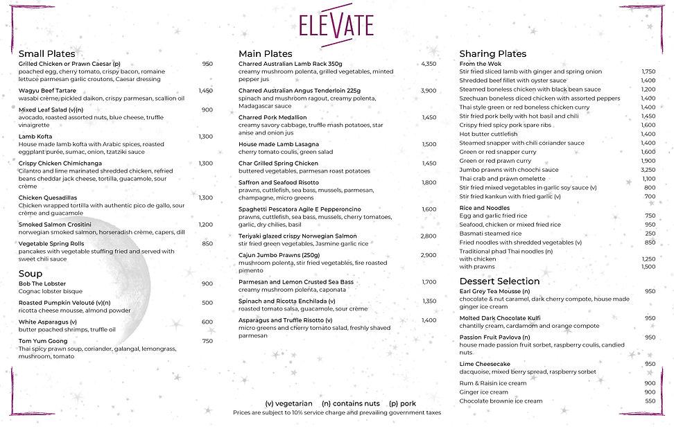 Elevate Food Menu