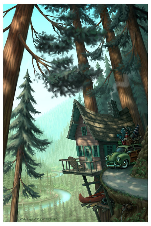"""River Cabin"" 12 X 18 Print"