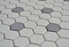 "white w/grey 1"" hex unglazed"