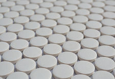 white penny round unglazed