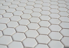"white 1"" hex unglazed"