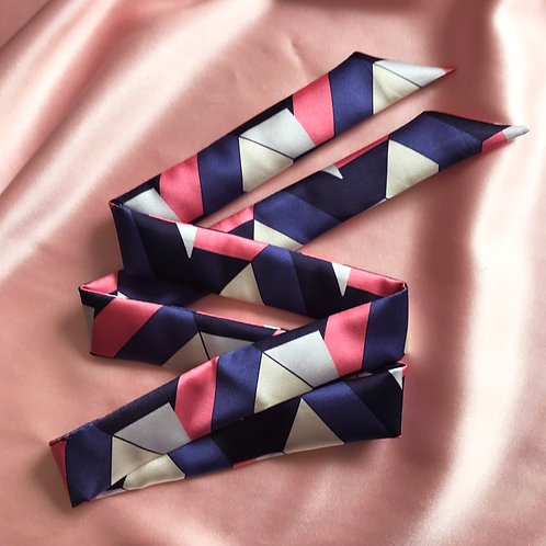 Geometric Print Silk Tess Hair Ribbon